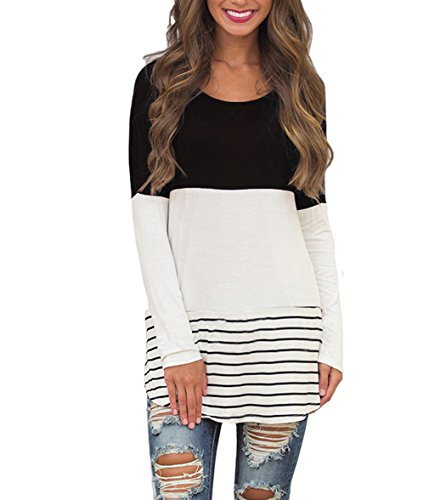 Hount Womens Back Lace Color Block Tunic Tops Long Sleeve T-Shirts Blouses with Striped Hem (X-Large, Black)