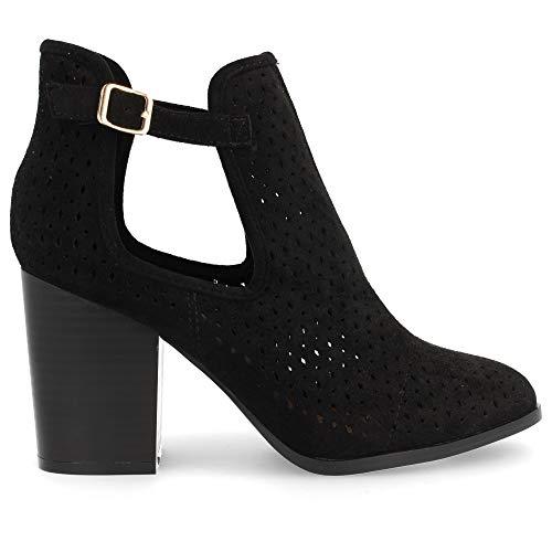 shoes&blues.es 30646-Damen Cowboy Stiefelette hoher Absatz mit offener Seite und perforiertem Fruhlingssommer 2019. Size 39 Negro