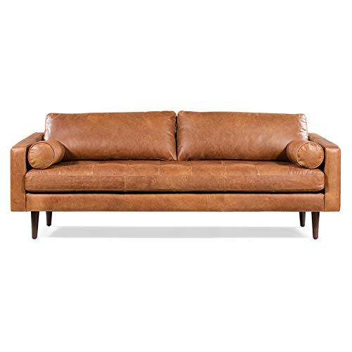 POLY & BARK Napa 88.5' Sofa in Full-Grain Pure-Aniline Italian Tanned Leather in Cognac Tan