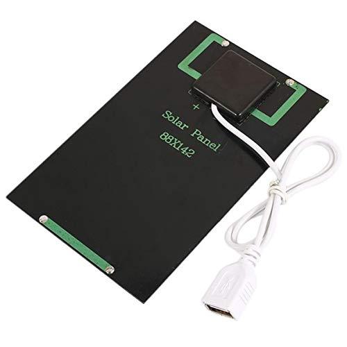 5W 5V Cargador de batería de Panel Solar Módulo Solar DIY con Puerto USB Tablero de Carga Solar portátil al Aire Libre para teléfonos móviles Negro WEIWEITOE