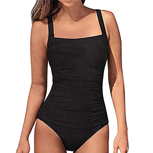 SEDEX Bañadores de Mujer Sexy Natacion Trajes de Baño de Una Pieza Monokinis Natacióncon Relleno Elegante Push up Cuello Halter para Mujer (Negro,XL)