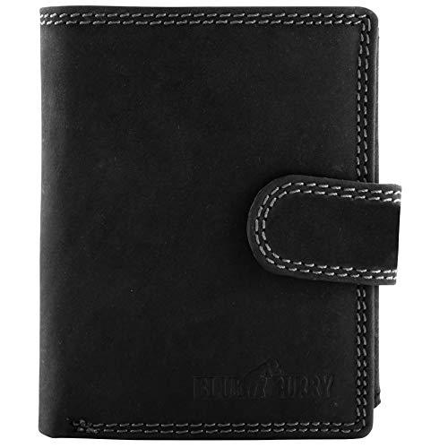 Herren Portemonnaie unter 25 Euro Leder Schwarz viele kartenfächer Hochformat Geldbeutel Herrenbörse männergeschenke Lederbörse W01L Black