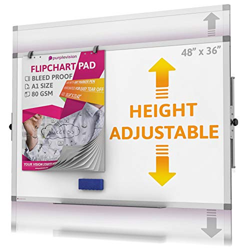 Whiteboard - Height Adjustable Magnetic Dry Erase Board - Large White Board for Wall with Flip Chart Holders and Paper Pad, Marker Tray Perfect for Your Business, School, Home