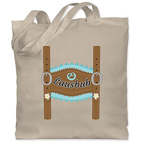 Shirtracer Kompatibel mit Oktoberfest Kinder Trachtenshirt - Lausbub Lederhose - Unisize - Naturweiß - WM101 - WM101 - Stoffbeutel aus Baumwolle Jutebeutel lange Henkel