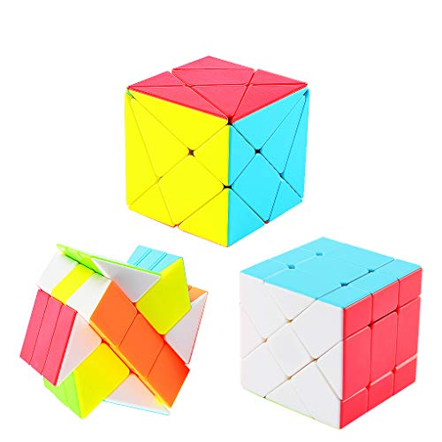 TOYESS Speed Cube Set Stickerless, Cubo de Velocidad 3x3 Windmill+Axis Cube+Fisher Cube, Rompecabezas Puzzle Juguetes para Adulto & Niños(3 Pack)