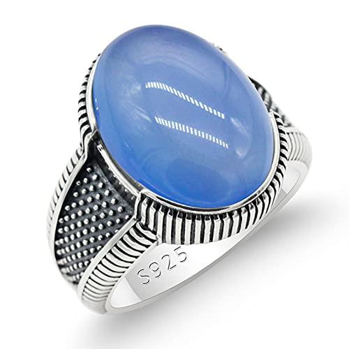 ZiFei 925 Anillo de Los Hombres de Plata Esterlina con Gran Ágata Azul Natural Piedra Vintage Simple Anillos Macho Joyería Turca Regalo,11