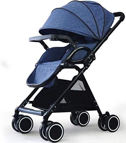 Atten Kinderwagen Folding Buggy Leicht Infant kompakter Reise-Buggy, mit 5-Punkt-Gurt und High Capacity Basket (Color : Blue)