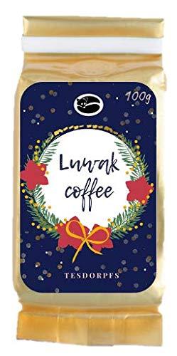 Kopi Luwak Kaffee - einzigartige Feinkostspezialität aus Indonesien für den Winter von frei lebenden Luwakkatzen - Katzenkaffee, das perfekte Geschenk! (100 GR X-Mas)