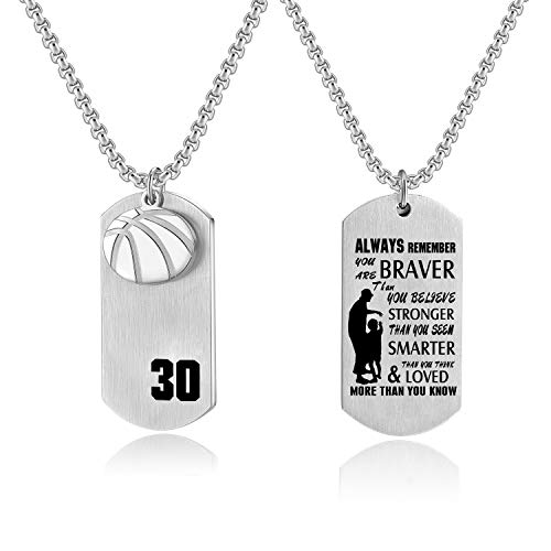 Basketball Player Number 30 Necklace Stainless Steel Cross Dog Tag Pendant,You Are Braver Inspirational Jewelry