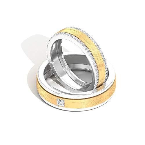 Anillo de boda certificado IGI de 0,68 ct de diamantes, conjunto de anillos de pareja de metal mixto, banda de eternidad de diamantes de claridad de color HI-SI, 14K Oro amarillo, Size:EU 57