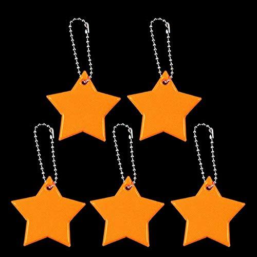 JERKKY Llavero, Reflector de Seguridad para niños Llavero Star Ultra Reflective Gear Llavero para Ropa Bolsas Mochilas Cochecitos Sillas de Ruedas Naranja