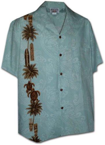 Pacific Legend Hawaiian Tiki Panel Aloha Shirt Sky M
