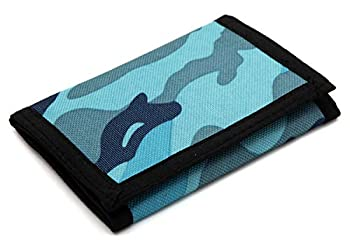 RFID Trifold Canvas Camouflage Wallet for Men,Mini Coin Purse with Zipper and Front Pocket for Kids Blue  Small