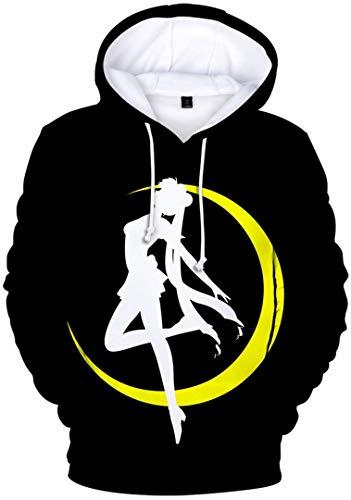 Silver Basic Sudadera con Capucha de Sailor Moon para Hombre,Sudadera con Capucha Deportiva para Fanáticos del Anime...