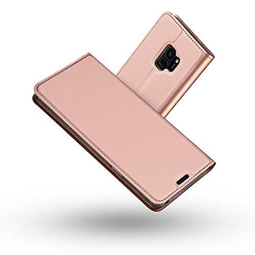 Radoo Galaxy S9 Hülle, Premium PU Leder Handyhülle Brieftasche-Stil Magnetisch Folio Flip Klapphülle Etui Brieftasche Hülle Schutzhülle Tasche Case Cover für Samsung Galaxy S9 (Rose Gold)