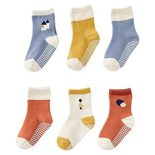 DuoMiaoMiao chaussettes bébé pour garçons et filles, 6 paires de chaussettes antidérapantes pour tout-petits, trotteur en coton pour bébé de 2-3 ans