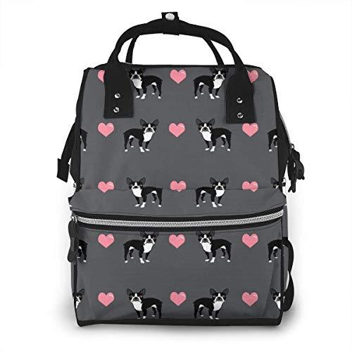 nbvncvbnbv Gray Boston Terrier Love Hearts Bolsa de pañales Multifunción Impermeable Mochila de viaje Momia Bolsitas de pañales para el cuidado del bebé Gran capacidad Elegante y duradera