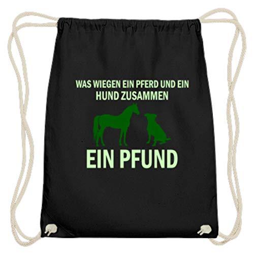 Wat wegen een paard en een hond samen? - Een pond! - Eenvoudig en grappig design – katoenen gymtas.