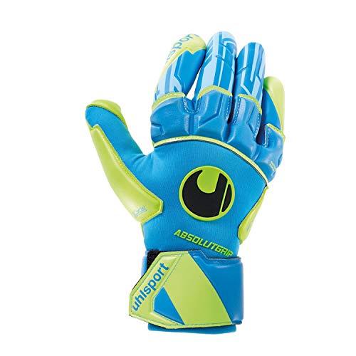 uhlsport Unisex– Erwachsene Control ABSOLUTGRIP Reflex Torwarthandschuhe, Fußballhandschuhe, Radar blau/Fluo gelb/schw, 8.5