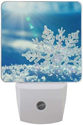 Lámpara LED de luz nocturna con sensor de luz, copo de nieve congelado luz de día blanco, azul, paquete de 2