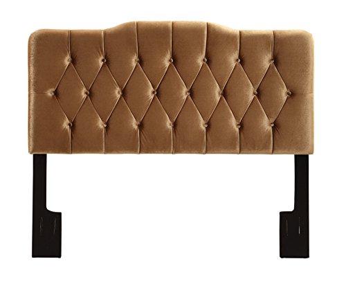 Right2Home Upholstered Soft Shape Headboard, King, Velvet Bronze Mattress