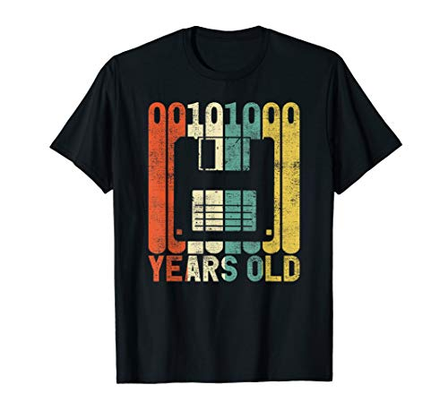 Herren Retro 40. Geburtstag Nerd Diskette Binär Computer Geschenk T-Shirt
