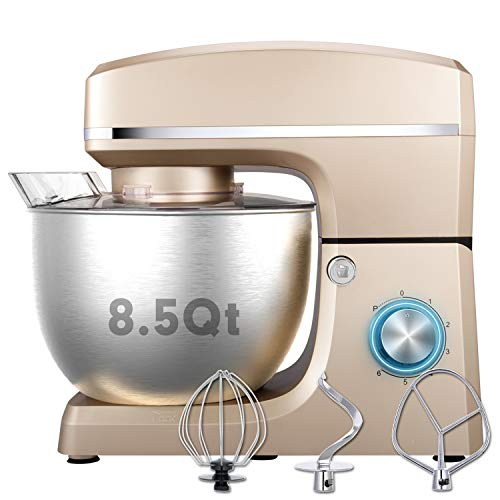 Stand Mixer, Sincalong 8.5QT 660W 6 Speed Tilt Head Electric Mixer with Stainless Steel Bowl, Splash Guard, Dough Hook, Flat Beater, Whisk Dough Kneading Machine, Champagne…