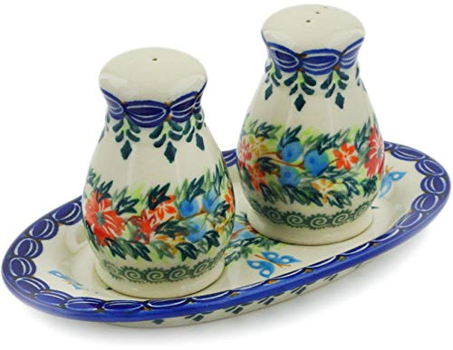 Polish Pottery 3-Piece Salt and Pepper Set with Tray (Ring Of Flowers Theme) Signature UNIKAT + Certificate of Authenticity