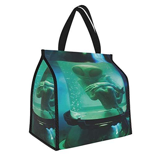 Y-shop Outer Space Martian UFO Alien In A Aquarium Like Tube Artwork Image Blue Sky Blue and Light Green Picnic Freezer Bag,Bag Picnic Camping Beach Tour BBQ 30l
