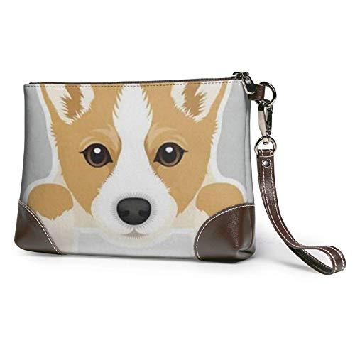 XCNGG Nette Cartoon walisische Corgi Hund gedruckt Clutch Geldbörse Abnehmbare Leder Wristlet Brieftasche Frauen Handtaschen Geldbeutel