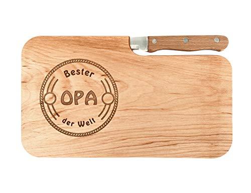 LASERHELD Brotzeitbrett Holz Erle Messer, Bester Opa der Welt, Geschenk Männer, Schneidbrett Holz, Geschenkidee für Opa
