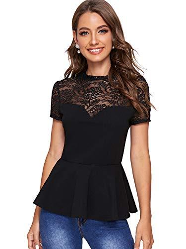 Romwe Women's Contrast Lace Shoulder Short Sleeve...