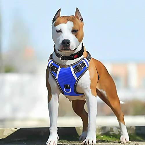 BABYLTRL Big Dog Harness No Pull Adjustable Pet Reflective Oxford Soft Vest for Large Dogs Easy Control Harness (XL, Blue)