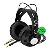 Knox Open Back Studio Headphones KN-HP200 - Recording, Music and Gaming Headphones with Powerful 50mm Driver and Deep Bass Sound - Adjustable Over Ear 10 ft Wired Head Phones with Jack and Adapter