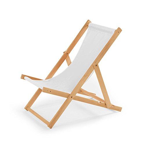 IMPWOOD Gartenliege aus Holz Liegestuhl Relaxliege Strandstuhl (Weiß)