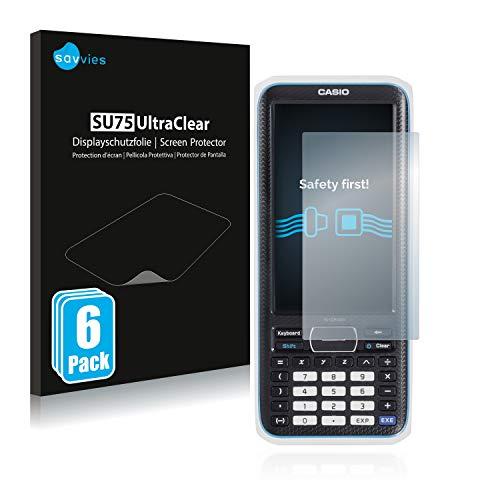 Savvies 6X Schutzfolie kompatibel mit Casio FX-CP400 ClassPad II Displayschutz-Folie Ultra-transparent
