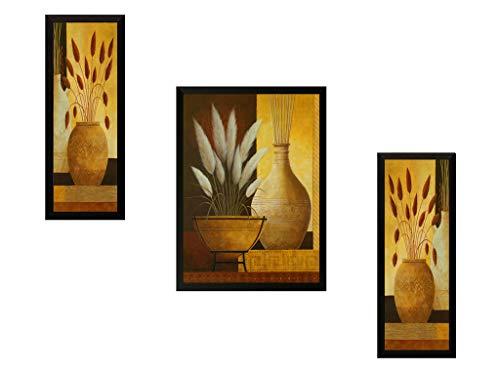 SAF Set of 3 Flower Pot Digital Reprint 22 inch x 14 inch Painting (6492) SANFSM6492