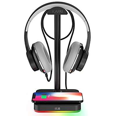 KAFRI RGB Headphone Stand with Wireless Charger Desk Gaming Headset Holder Hanger Rack with 10w/7.5w Fast Charge QI Wireless Charging Pad-Suitable for Gamer Desktop Table Game Earphone Accessories by KAFRI