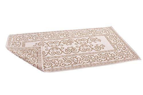 HomeLife – Alfombra de baño Rectangular de algodón [Dimensiones: 45x60] – Alfombrilla para Ducha de Calidad Fabricada en Italia y Lavable en Lavadora – Decoración barroca, Beige