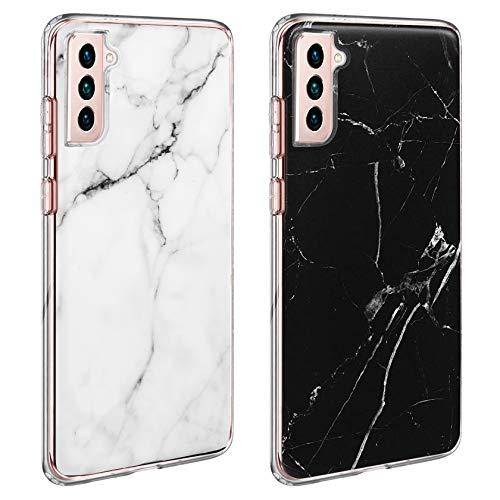 AROYI 2 Stuck Hulle Kompatibel mit Samsung Galaxy S21 5G Hulle Marmor SilikonSamsung S21 5G Case GlitzerFlexible TPU Schutzhulle Anti Kratzer Handyhulle Kompatibel mit Galaxy S21 5G Schwarz Weis