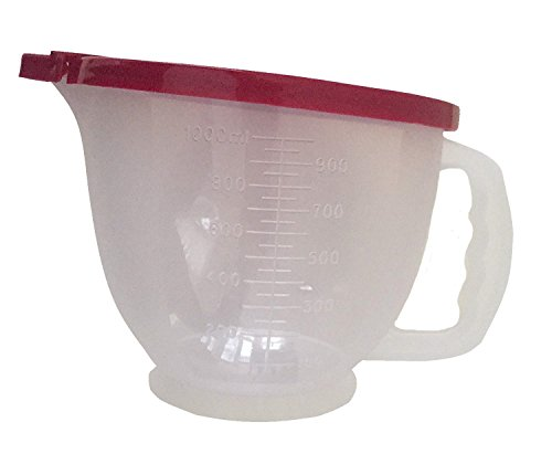 Tupperware 4 Cup Mix N Stor Batter Bowl Pitcher with Raspberry Red Seal BPA-Free