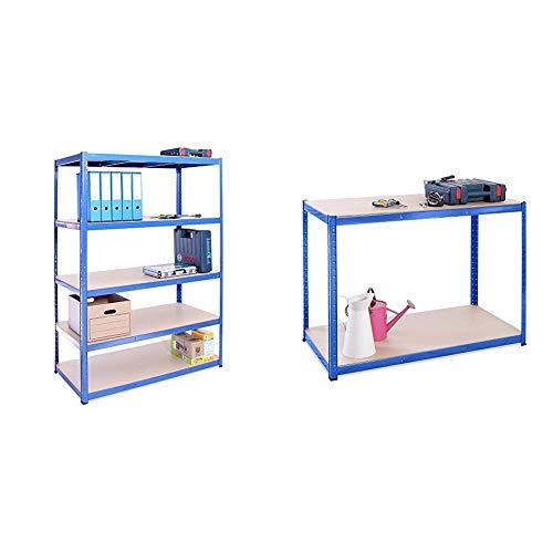 G-Rack Garage Shelving Unit: 180cm x 120cm x 60cm | Single bay, Blue 5 Tier Unit | 175kg Load Weight Per Tier & 90cm x 120cm x 60cm, Blue 2 Tier 300KG Per Shelf), 600KG Capacity Garage Shed Workbench
