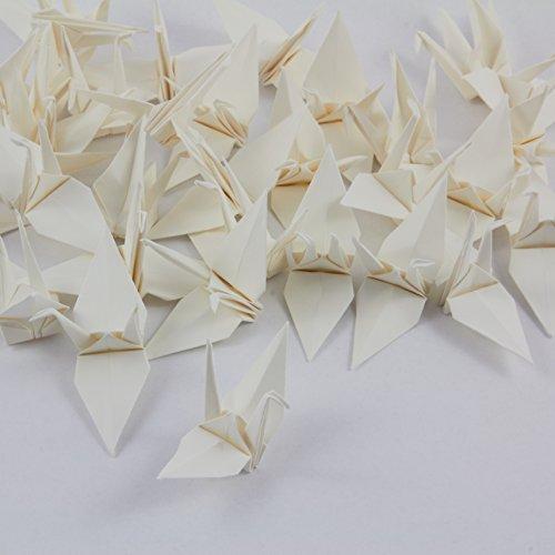 GOH Origami Kranich fertig kunstvoll filligran gefaltet (Elfenbein) 7 cm 25 Stück-Set mit feinstem Nylonfaden und Nadel
