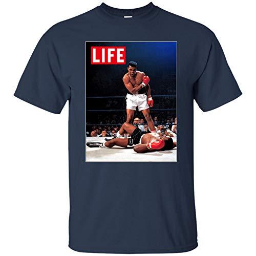 Muhammad Ali, Retro, Life, Sonny Liston, Cassius Clay, Boxing, Fight Men's T-Shirt,Navy,L