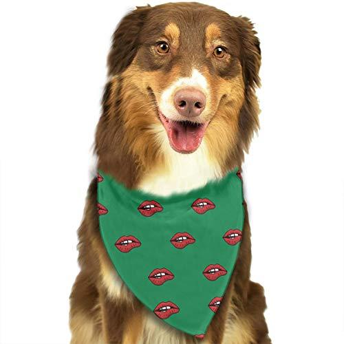 Dames Lippen Zwart Naadloos Aangepaste Hond Kat Bandana Driehoek Bibs Sjaal Huisdier Geschikt voor Kleine Tot Grote Hond Katten