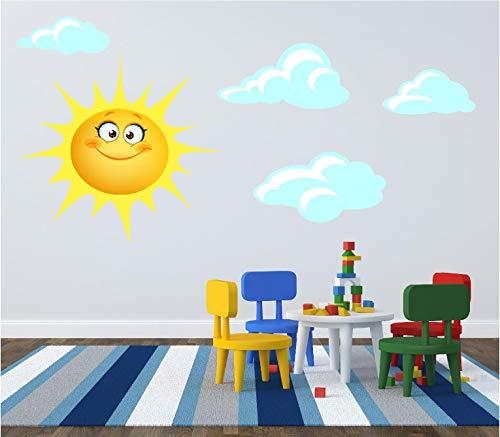 Soleil et nuages pour enfants Chambre à coucher Chambre d'enfant Autocollant d'impression Autocollant transfert, Medium (see description)