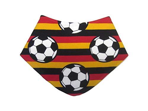 Baby-Halstuch Dreieckstuch aus Jersey mit Fußbällen auf schwarz-rot-gelben Streifen, Rückseite Molton weiß, 97% Baumwolle, 3% Elasthan