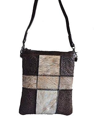 western hair fur patch work leather cross body bag purse