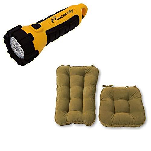Toucan City LED Flashlight and Greendale Home Fashions Hyatt Moss 2-Piece Jumbo Rocking Chair Cushion Set JR5161-MOSS