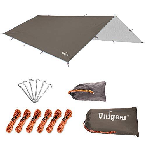 Unigear 防水タープ キャンプ タープ テント 軽量 日除け 高耐水加工 紫外線カット 遮熱 サンシェルター ポータブル 天幕 シェード アウトドア 収納ケース付 2-6人用 4サイズ